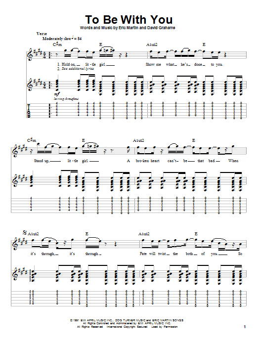 Tablature guitare To Be With You de Mr. Big - Autre