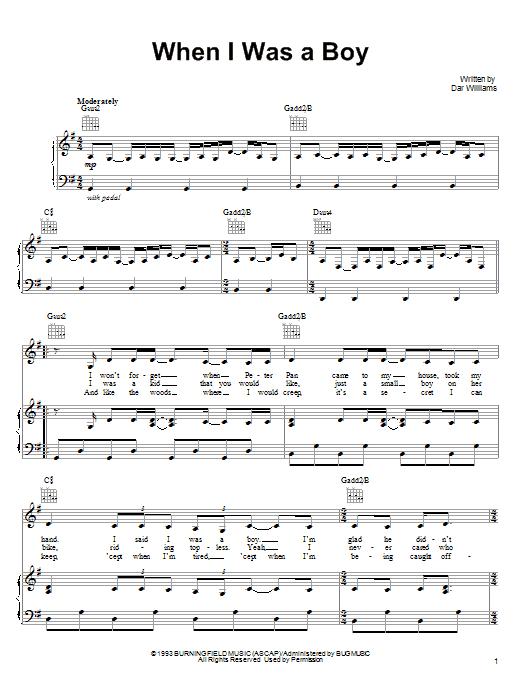 Partition piano When I Was A Boy de Dar Williams - Piano Voix Guitare (Mélodie Main Droite)