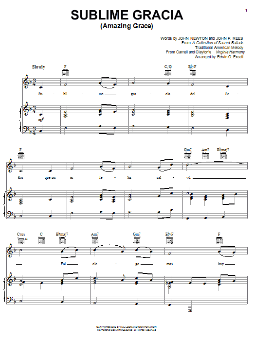 Sublime Gracia (Amazing Grace) (Piano, Vocal & Guitar (Right-Hand Melody))