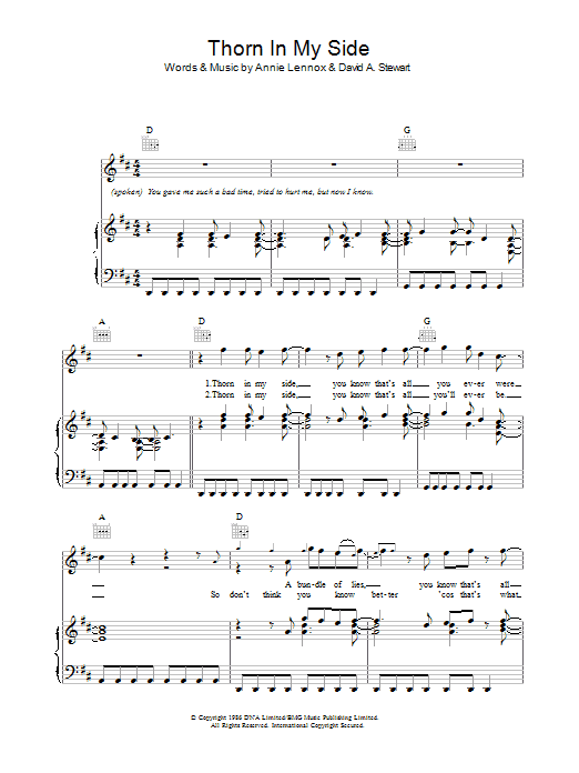 Thorn In My Side Sheet Music