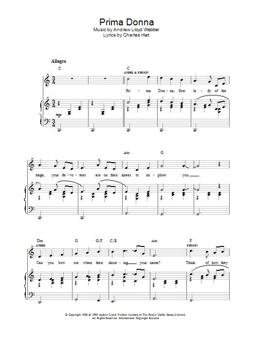 Prima Donna (from The Phantom Of The Opera) (Piano, Vocal & Guitar)