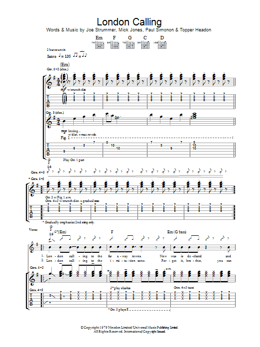 London Calling (Guitar Tab)