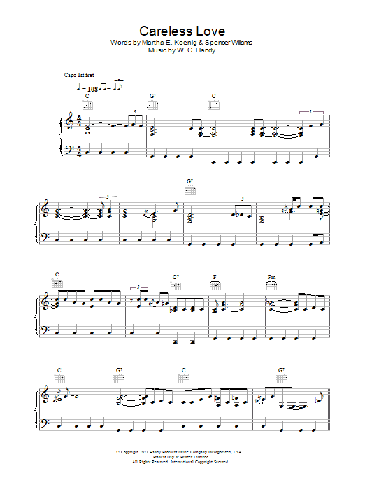 Careless Love (Piano, Vocal & Guitar)