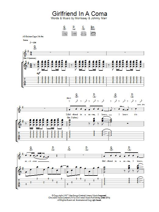 Girlfriend In A Coma Sheet Music
