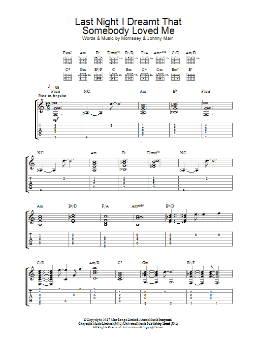 Last Night I Dreamt That Somebody Loved Me Sheet Music