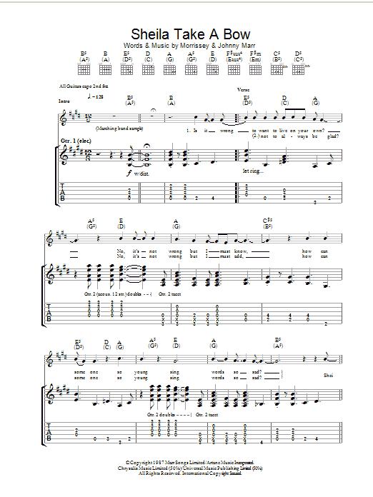 Sheila Take A Bow (Guitar Tab)