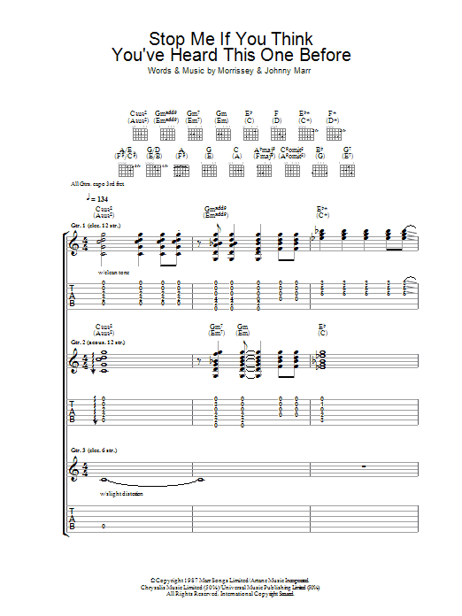 Stop Me If You Think You've Heard This One Before (Guitar Tab)