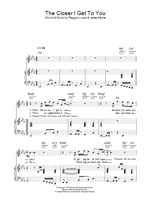 The Closer I Get To You Sheet Music