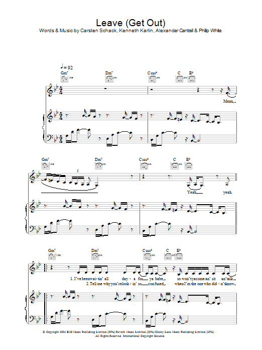 Leave (Get Out) (Piano, Vocal & Guitar)