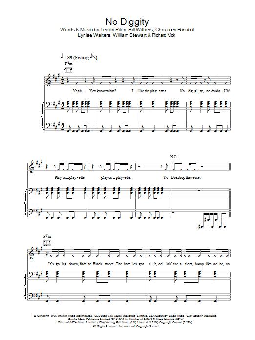 NO DIGGITY Chords - Blackstreet | E-Chords