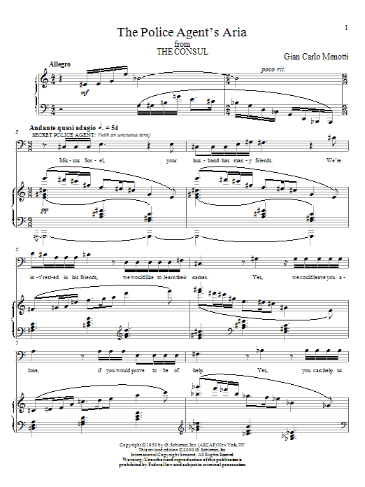 The Police Agent's Aria Sheet Music