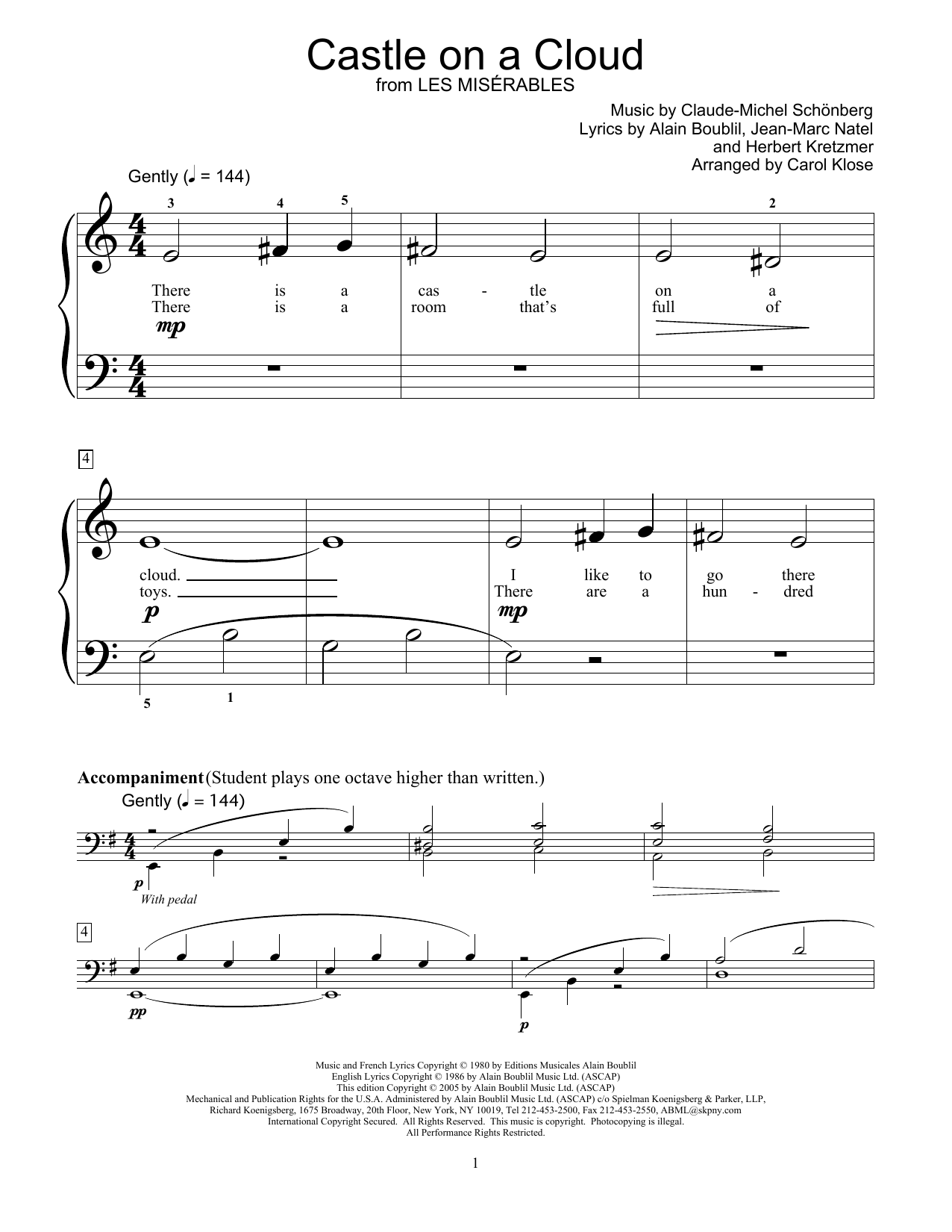 Castle On A Cloud (from Les Miserables) Sheet Music