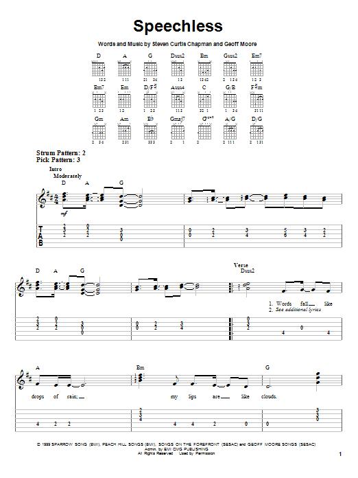 Speechless Sheet Music By Steven Curtis Chapman Easy Guitar Tab