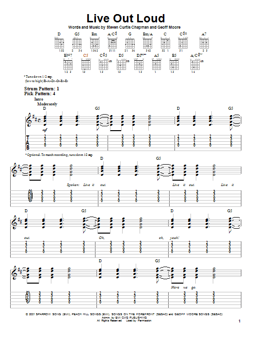 Live Out Loud Sheet Music