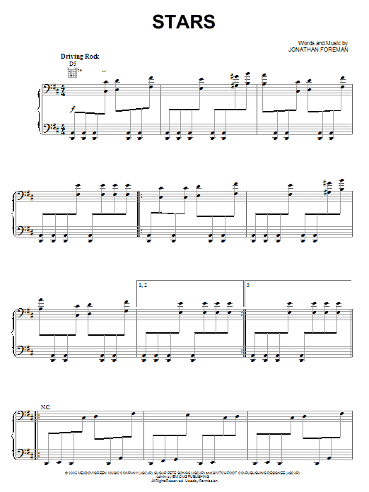 Stars (Piano, Vocal & Guitar (Right-Hand Melody))