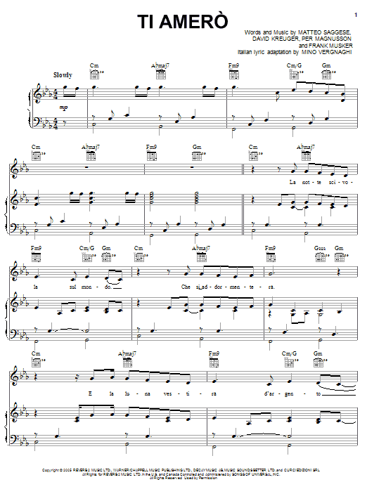 Ti Amero Sheet Music