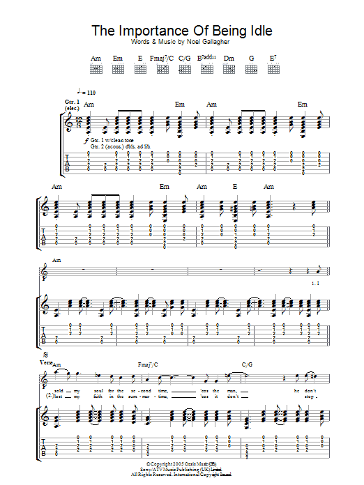 The Importance Of Being Idle Sheet Music