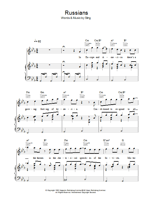 Russians (Piano, Vocal & Guitar)