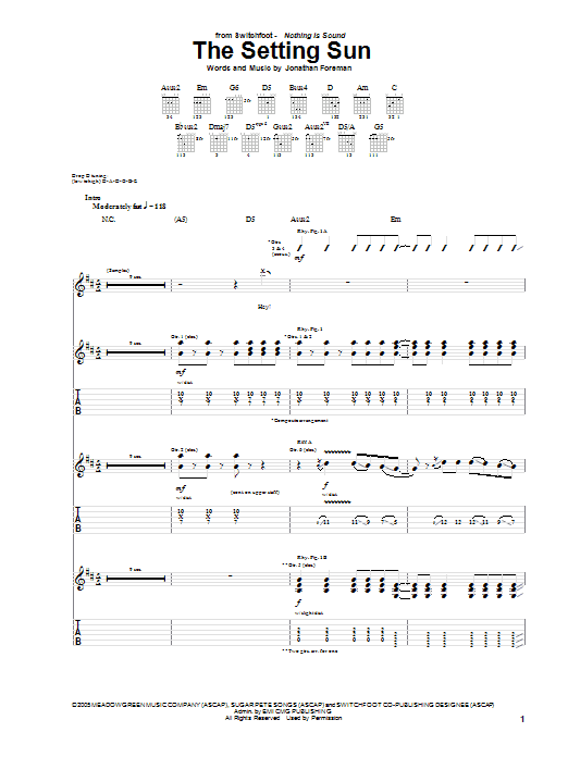 The Setting Sun (Guitar Tab)