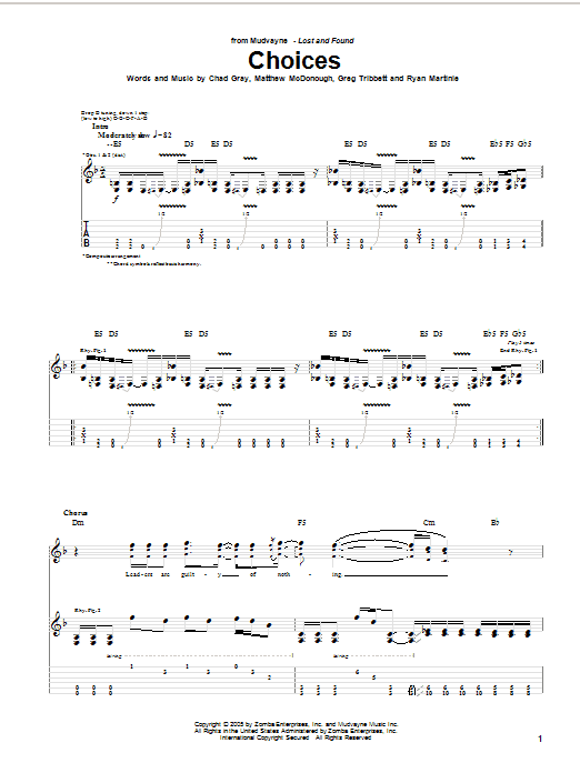 Tablature guitare Choices de Mudvayne - Tablature Guitare