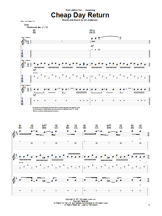Tablature guitare Cheap Day Return de Jethro Tull - Tablature Guitare