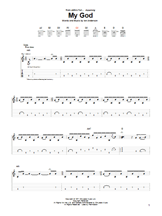 Tablature guitare My God de Jethro Tull - Tablature Guitare