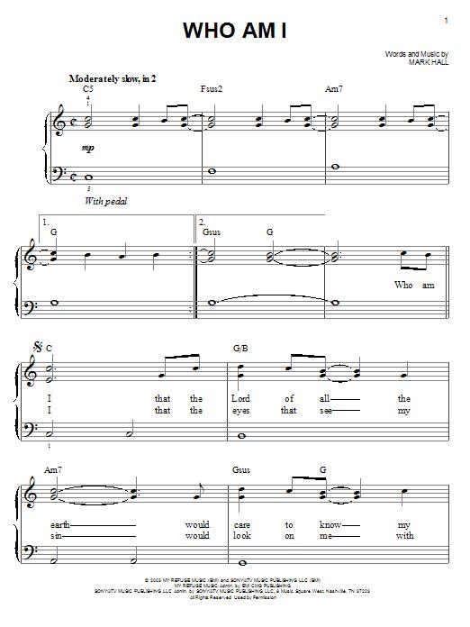 Partition piano Who Am I de Casting Crowns - Piano Facile