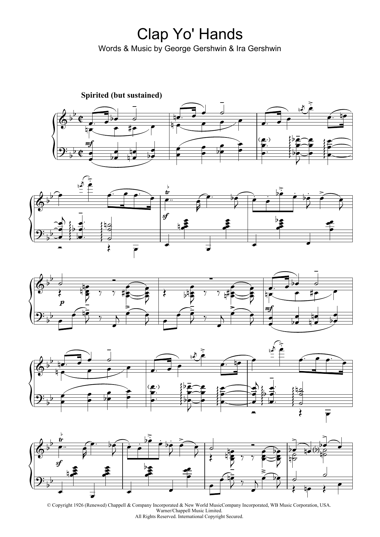Clap Yo' Hands Sheet Music