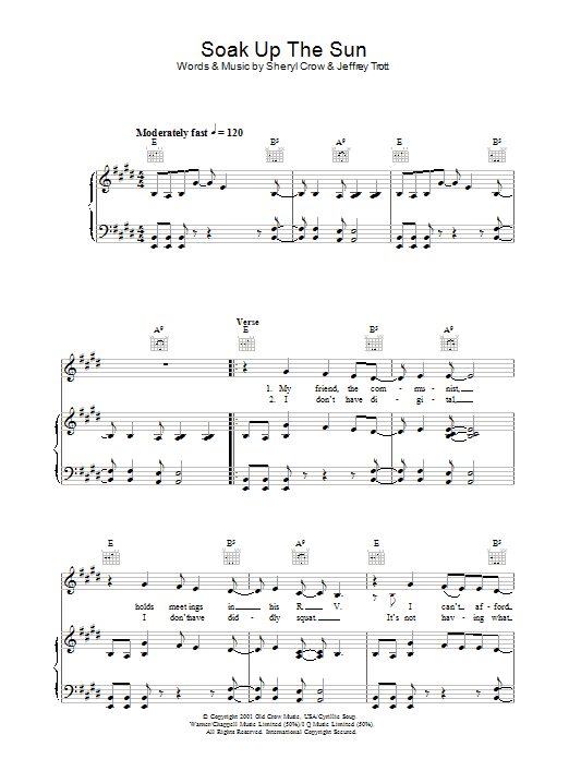 Soak Up The Sun (Piano, Vocal & Guitar)