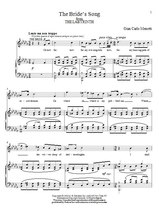 Partition piano The Bride's Song de Gian Carlo Menotti - Piano Voix Guitare (Mélodie Main Droite)