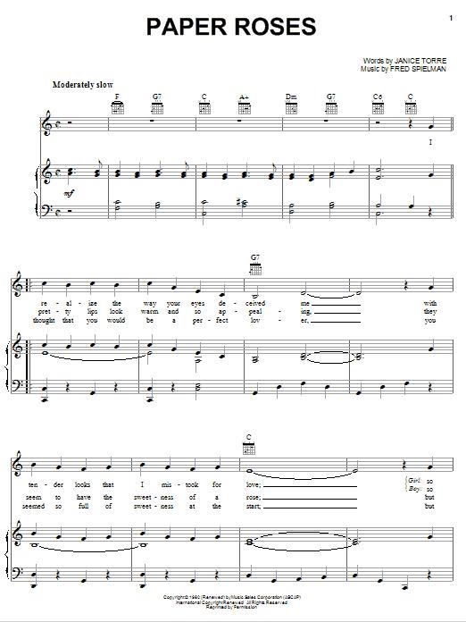 Paper Roses Sheet Music