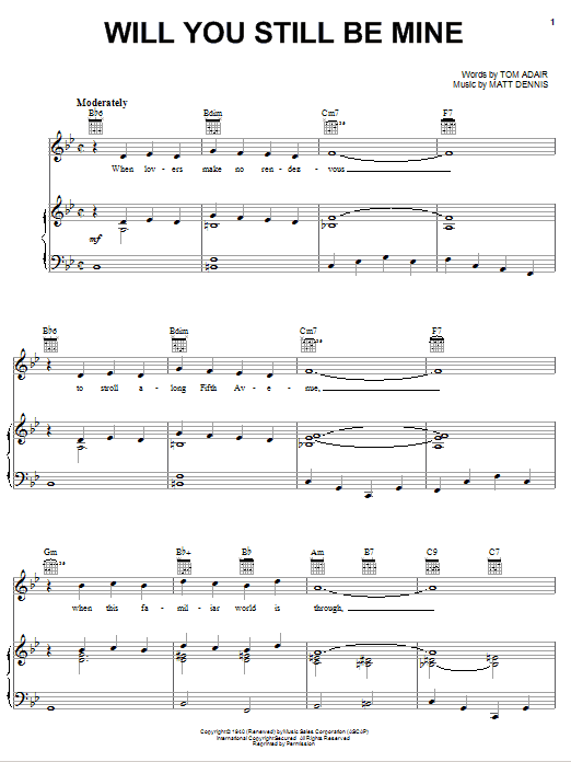 Will You Still Be Mine Sheet Music