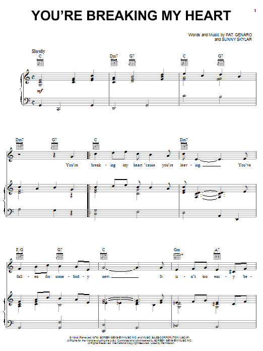 You're Breaking My Heart Sheet Music