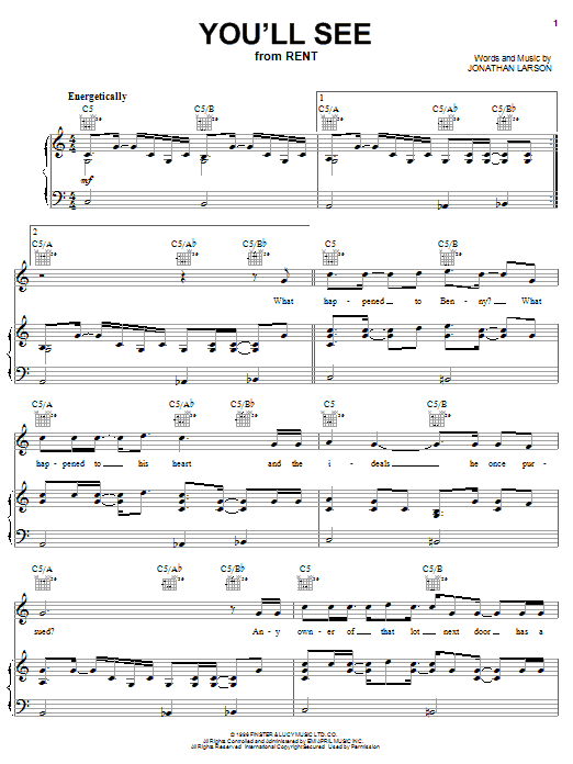 You'll See (Piano, Vocal & Guitar (Right-Hand Melody))