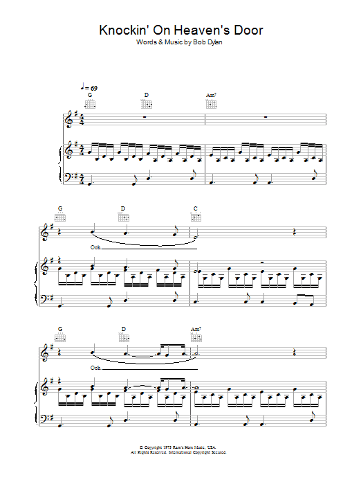Knockin' On Heaven's Door (Piano, Vocal & Guitar)