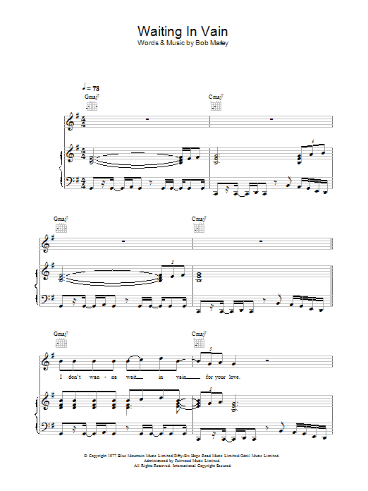 Waiting In Vain (Piano, Vocal & Guitar)