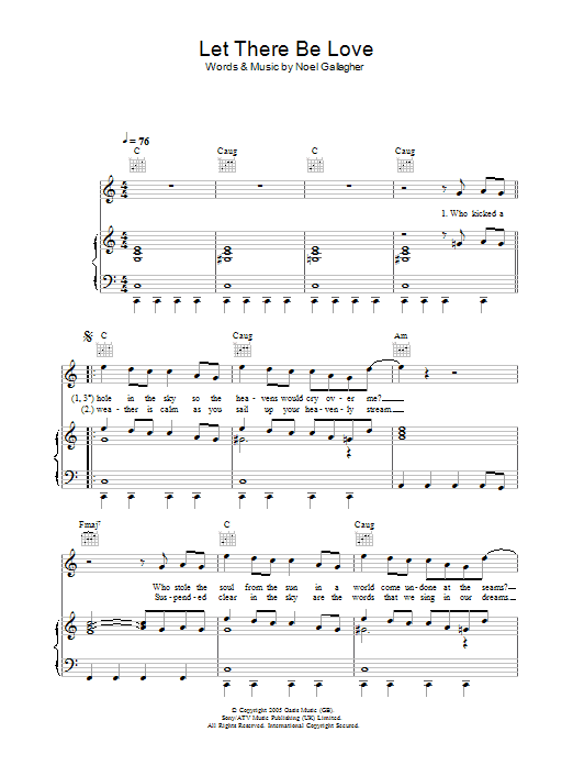 Let There Be Love Sheet Music Oasis Piano Vocal Guitar Right