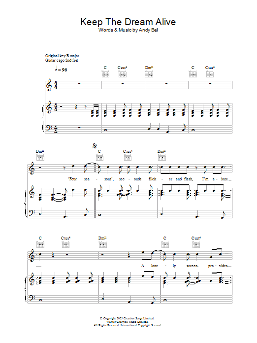 Keep The Dream Alive (Piano, Vocal & Guitar)