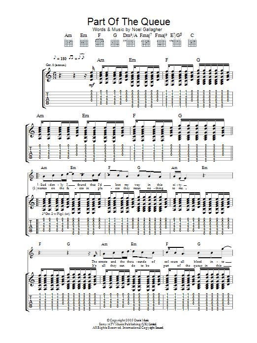 Part Of The Queue (Guitar Tab)