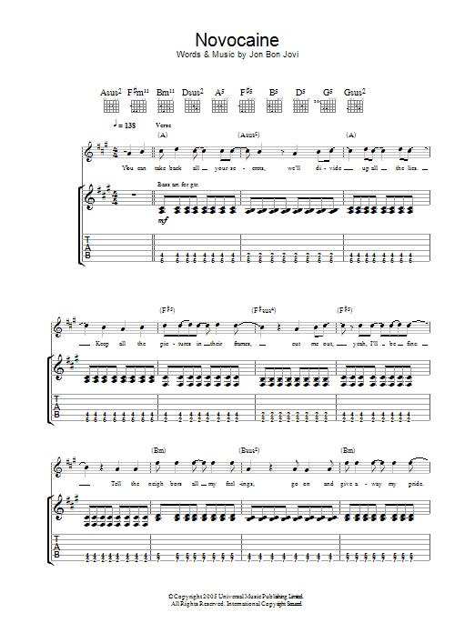 Novocaine (Guitar Tab)