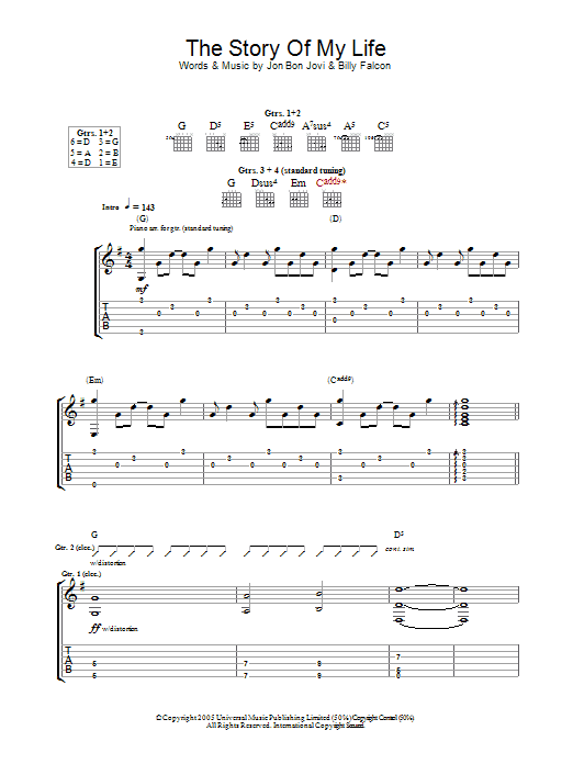 Story Of My Life (Guitar Tab)