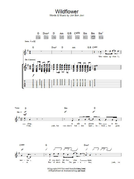 Wildflower (Guitar Tab)