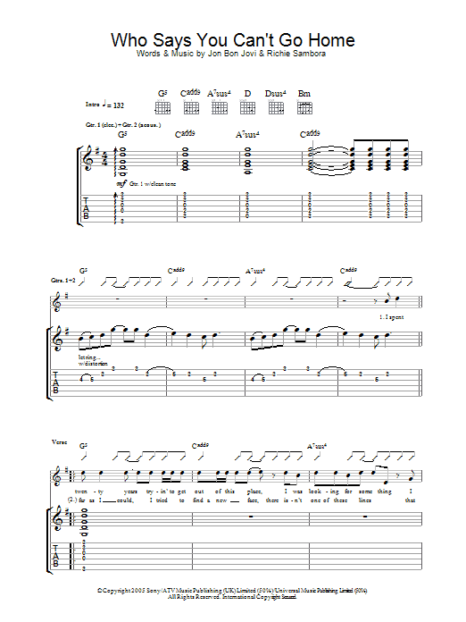 Who Says You Cant Go Home Bon Jovi Guitar Tab