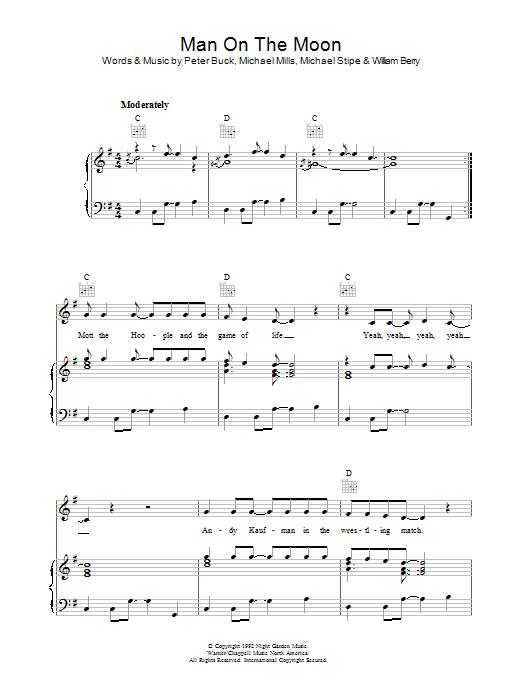 Man On The Moon Sheet Music