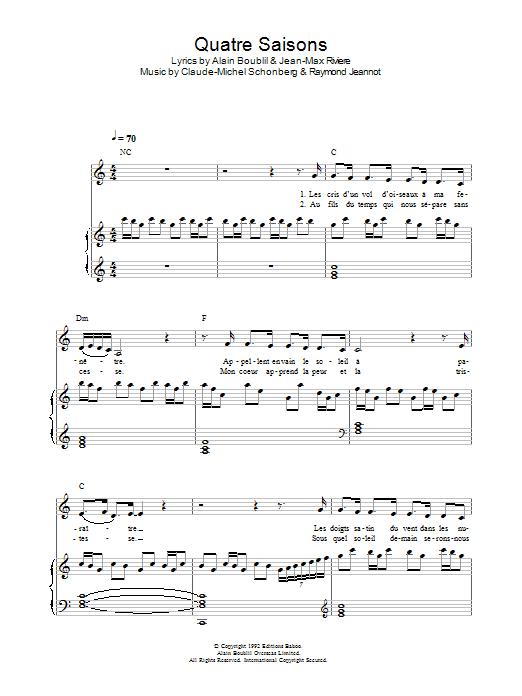 Quatre Saisons Pour Un Amour (from La Revolution Francaise) Sheet Music