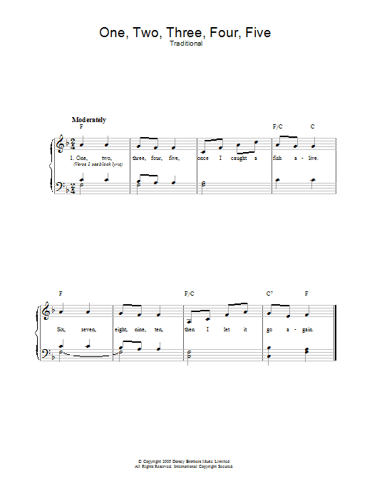 One Two Three Four Five (Piano, Vocal & Guitar)