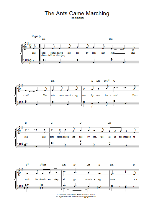 The Ants Came Marching Sheet Music