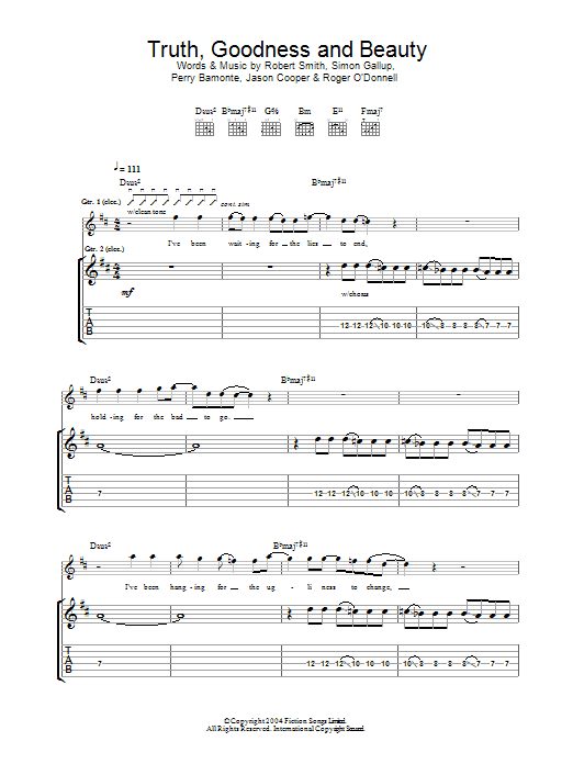 Truth, Goodness And Beauty Sheet Music