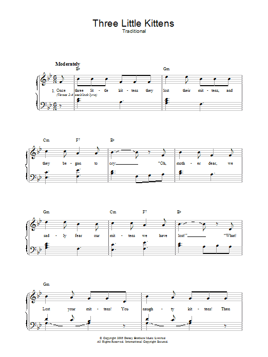 Three Little Kittens (Piano, Vocal & Guitar)