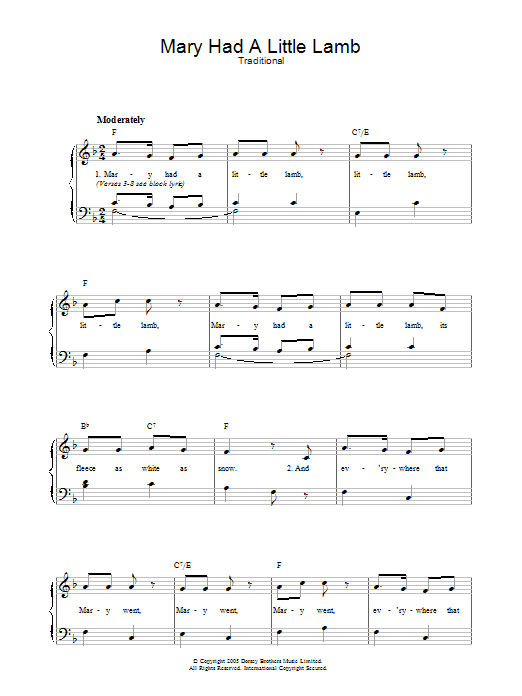 Mary Had A Little Lamb By Traditional Piano Vocal Guitar Right Hand Melody Digital Sheet Music